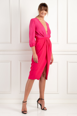 Wraparound Fuchsia Dress-1