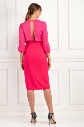 Wraparound Fuchsia Dress-4