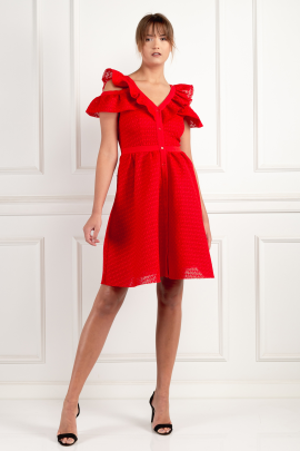 Red Crepe Lace Dress-0