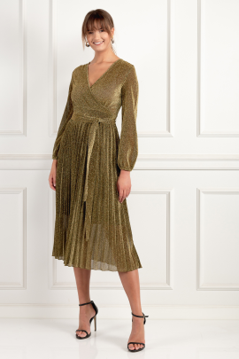 Gold Pleated Glitter Dress-0