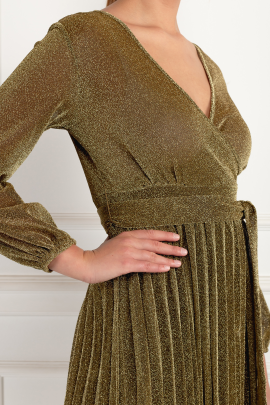 Gold Pleated Glitter Dress-3