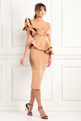 Beige One Shoulder Peplum Dress-0