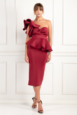 Burgundy One Shoulder Peplum Dress	-0