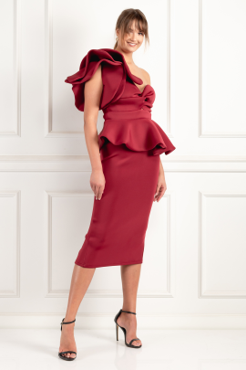 Burgundy One Shoulder Peplum Dress	-1