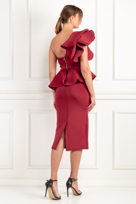 Burgundy One Shoulder Peplum Dress	-2