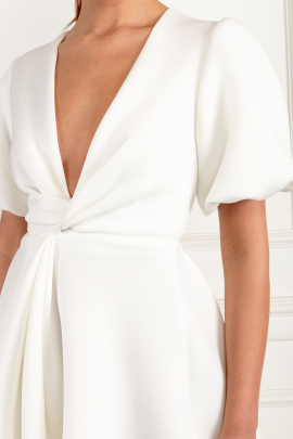 Sleeve Twist Detail White Dress-3