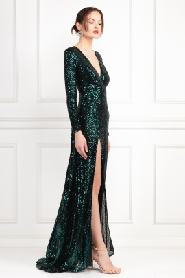 * Fontaine Green Sequin Dress-0
