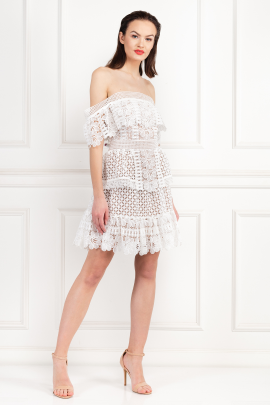 Off-The-Shoulder Guipure Lace Dress-1