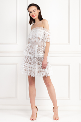 Off-The-Shoulder Guipure Lace Dress-0
