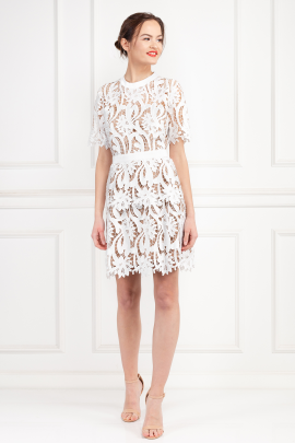 Grosgrain-Trimmed Guipure Lace Dress-1