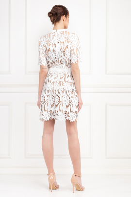 Grosgrain-Trimmed Guipure Lace Dress-2