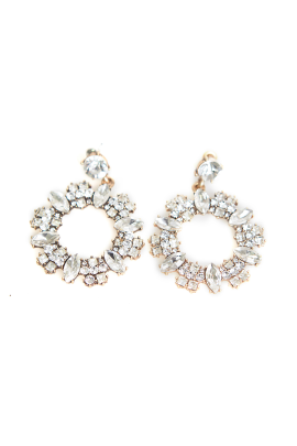 Circle Crystal Earrings-0