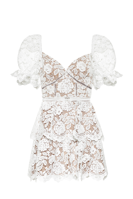 White Puff Sleeve Floral Dress-4