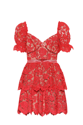 Red Puff Sleeve Floral Dress-4