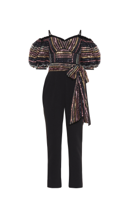 Stripe Sequin Puff Sleeve Jumpsuit-4