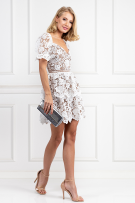 White Puff Sleeve Floral Dress-1