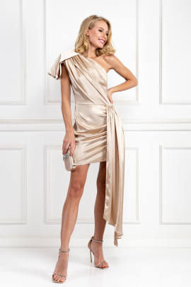 Cream Silky Draped Dress-1