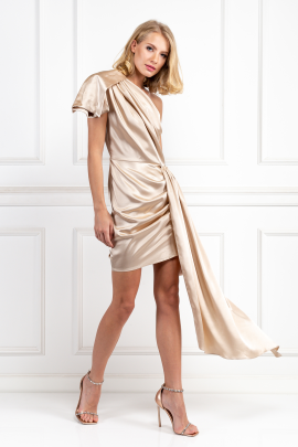 Cream Silky Draped Dress-0