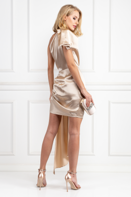 Cream Silky Draped Dress-2