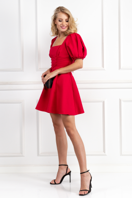 Puff-Sleeved Ottoman Mini Dress-2