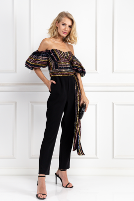 Stripe Sequin Puff Sleeve Jumpsuit-1