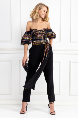 Stripe Sequin Puff Sleeve Jumpsuit-0