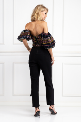 Stripe Sequin Puff Sleeve Jumpsuit-2