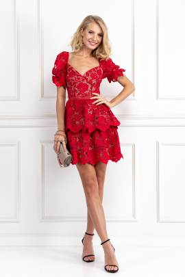Red Puff Sleeve Floral Dress-0