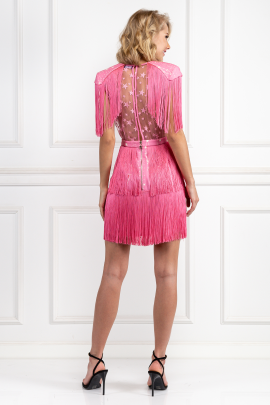 Pink Mini Dress With Fringes-2