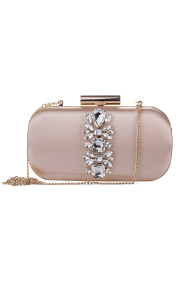 Cream Embellished Clutch-0