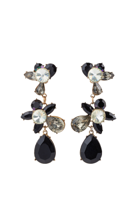 Black Statement Teardrop Earrings-0