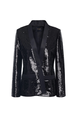 Sequined Satin-twill Blazer -0