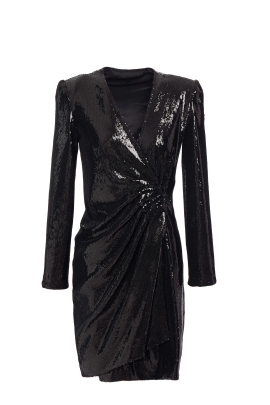 Wrap-effect Black Sequined Dress-4