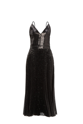 Black Sequin Strappy Dress-0