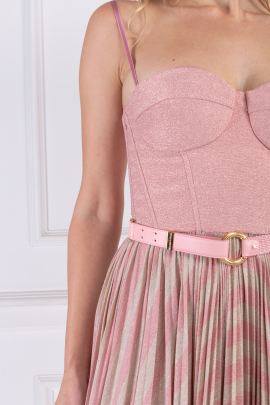 * Pink Sleeveless Dress With Belt-3