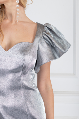* Puff-sleeved Metallic Mini Dress-3