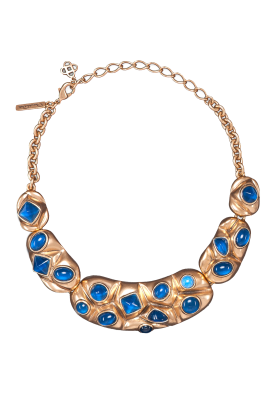 Gold Resin Bib Necklace-0