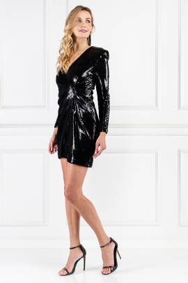 Wrap-effect Black Sequined Dress-1