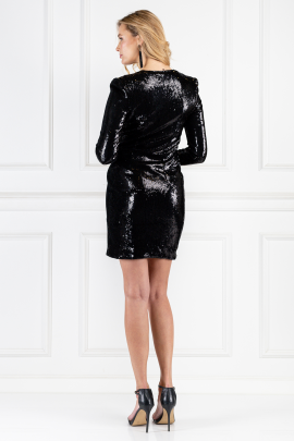 Wrap-effect Black Sequined Dress-2