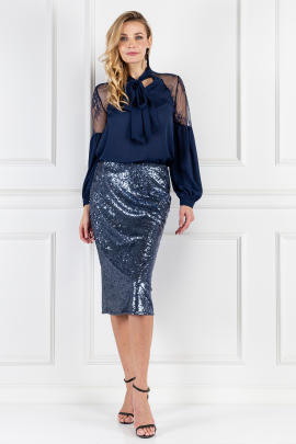 Marta Sequined Indigo Skirt-0