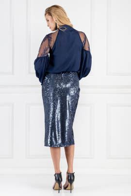 Marta Sequined Indigo Skirt-2