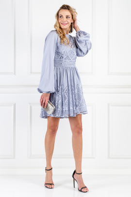 Pale Blue Azure Sleeved Dress-1