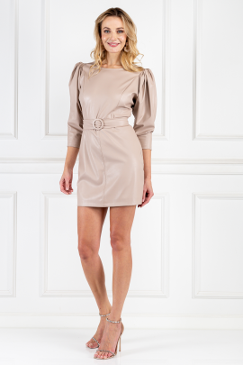 Cream Leather Belted Dress-0