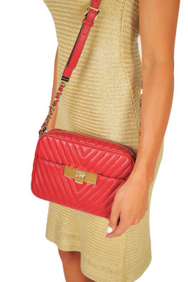 Suzannah Small Red Quilted Bag-1