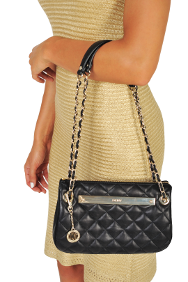 Black Quilted Leather Bag-1