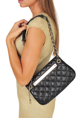 Black Quilted Leather Bag-2