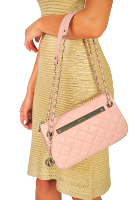 Blush Quilted Leather Bag / VILNIUS-1