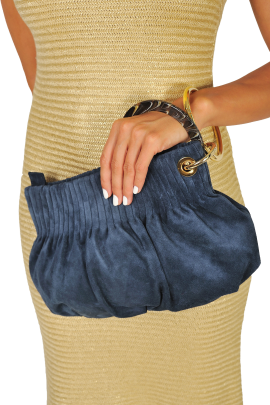 Blue Suede Ring Hand Bag-1