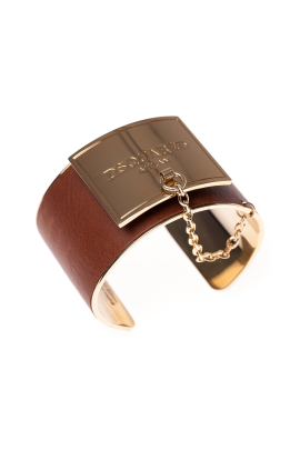 Leather Gold Maxi Bracelet -0