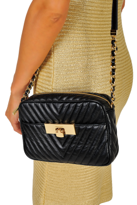 Suzannah Small Black Quilted Bag -1